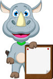 Funny rhino cartoon with blank board Stock Photos