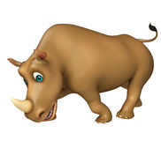 Funny Rhino cartoon character Stock Image