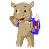 Funny rhino cartoon go to school Stock Photography