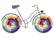 Funny ride on happy bike. Lovely bicycle with colorful wheels Stock Images