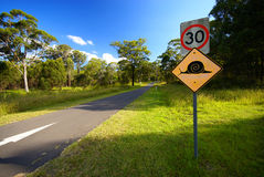 Funny road sign. Along road in Australia Stock Photo