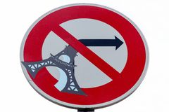Funny road sign in Paris Stock Photos