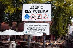 Funny road sign on republic Uzupis in Old Town, Vilnius, Lithuan Royalty Free Stock Photos