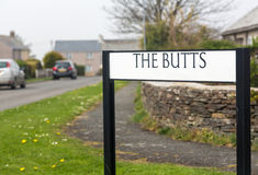 Funny road or street sign The Butts in Cornwall Royalty Free Stock Images