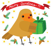 Funny Robin with Christmas Gift Stock Photo