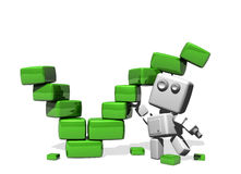 Funny robot building a green tick. A funny white robot building a bright green ceck made of cubes; isolated on a white background vector illustration