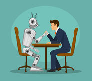 Funny robot and businessman arm wrestling, fighting . artificial intelligence vs human competition vector illustration