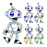 Funny robot. Cartoon and vector isolated characters Stock Photography