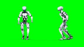 Funny robot is dancing . Realistic motion and reflections. 4K green screen footage.