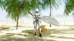 Funny robot dancing on sunny seaside. Tourism and rest concept. 3d rendering. Funny robot dancing on sunny seaside. Tourism and rest concept. 3d rendering stock illustration