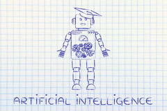 Funny robot with graduation hat, artificial intellignce Stock Images