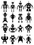 Funny robot icons set. Funny robot  icons set in black Royalty Free Stock Images