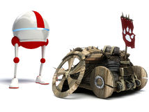 Funny robot and old car Royalty Free Stock Image