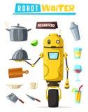 Funny robot waiter, cute character. Vector cartoon illustration Stock Photos