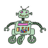 Funny robot on wheels with red eyes. Vector illustration. Stock Image