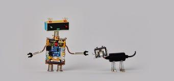 Funny robotic character black cyborg cat pet. gray background Royalty Free Stock Photos