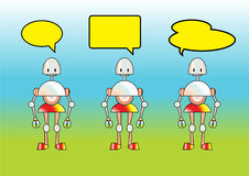 Funny robots. Vector Illustration of funny robots decorated with comics bubbles Royalty Free Stock Photo