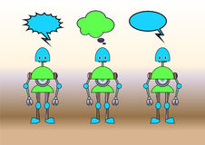Funny robots decorated with comics bubbles Royalty Free Stock Image