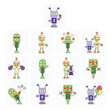 Funny robots set Royalty Free Stock Images