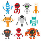 Funny robots. In vector on white background stock illustration