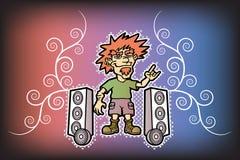 Rocker. Funny rocker. Super subwoofer. Rock style. Vector illustration Stock Photography