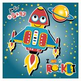Funny rocket cartoon in outer space vector illustration