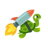 Funny rocket turtle illustration Stock Photography