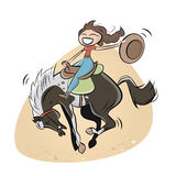 Funny rodeo cowgirl Royalty Free Stock Image