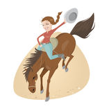 Funny rodeo riding girl Stock Photos