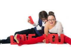 Funny romantic couple Royalty Free Stock Images