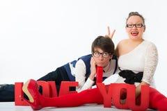Funny romantic couple Stock Image