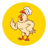 A FUNNY ROOSTER GIVING A THUMBS UP stock illustration