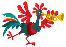 Funny Rooster Plays The Trumpet Stock Image