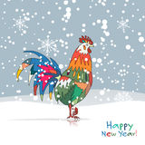 Funny Rooster, symbol of 2017 new year. Vector illustration Royalty Free Stock Images