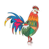 Funny Rooster, symbol of 2017 new year. Vector illustration Stock Images