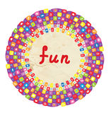 Funny round frame for kids with toys Stock Photos