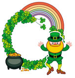 Funny round frame with shamrock and leprechaun. Raster clip art. Round frame with shamrock, leprechaun and a pot of gold. St. Patrick Day background. Copy space Royalty Free Stock Image