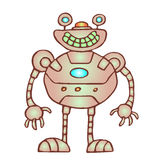 Funny rounded robot. Vector illustration. Original cartoon vintage character Royalty Free Stock Photos