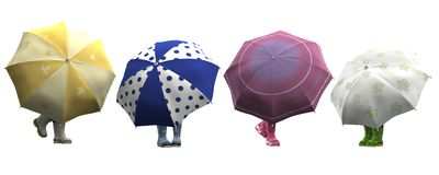 Funny Rubber Shoes with Umbrellas. 3D image with clipping paths. Umbrellas and rubber shoes isolated on white background Royalty Free Stock Images