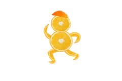 Funny running man made of the orange slices Stock Photo