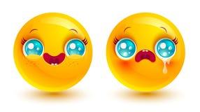 Funny and sad emoji. Vector set two smiles icons. Funny and sad emoji in kawaii style. Two smiles Stock Image