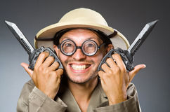 Funny safari hunter Royalty Free Stock Images