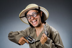 Funny safari hunter against Royalty Free Stock Photography