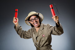 Funny safari hunter against background Stock Photo