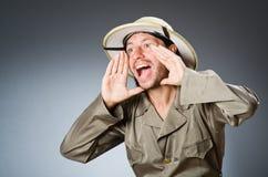Funny safari hunter against background Stock Photography