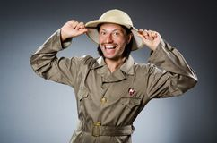 The funny safari hunter against the background Stock Images