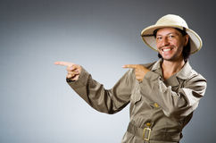 The funny safari hunter against the background Stock Photo