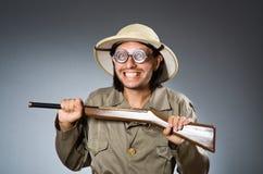 Funny safari hunter Stock Image