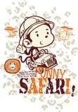 Funny safari monkey. Vector for children wear in custom colors stock illustration