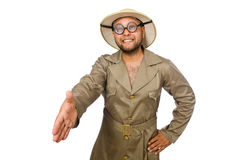 The funny safari traveller isolated on white Stock Photo